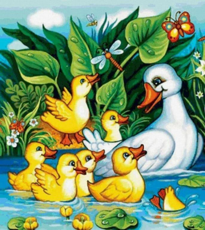 Рисунок уточки в пруду
