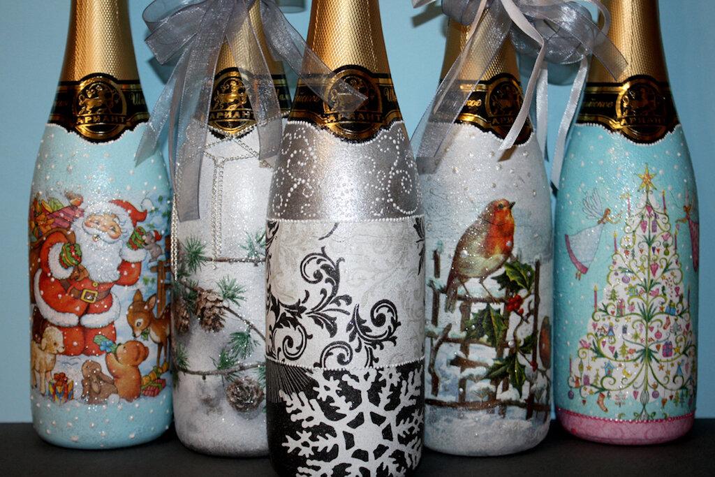 декупаж новогодних бутылок шампанского фото того