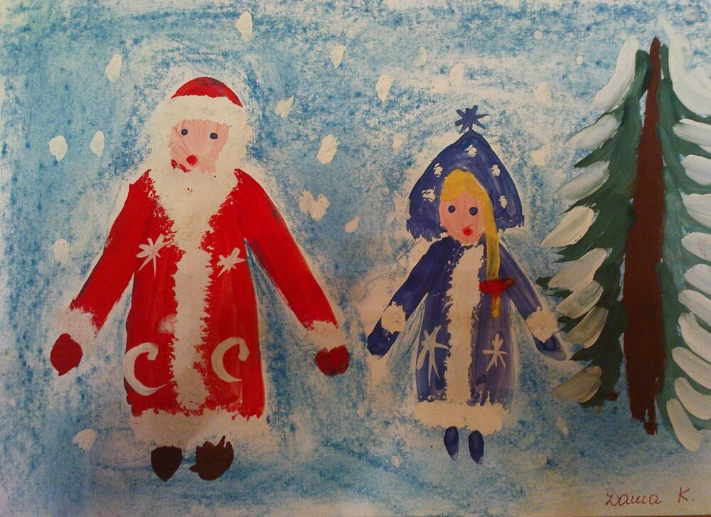 Занятие по рисованию в подготовительной группе новогодняя открытка, картинки