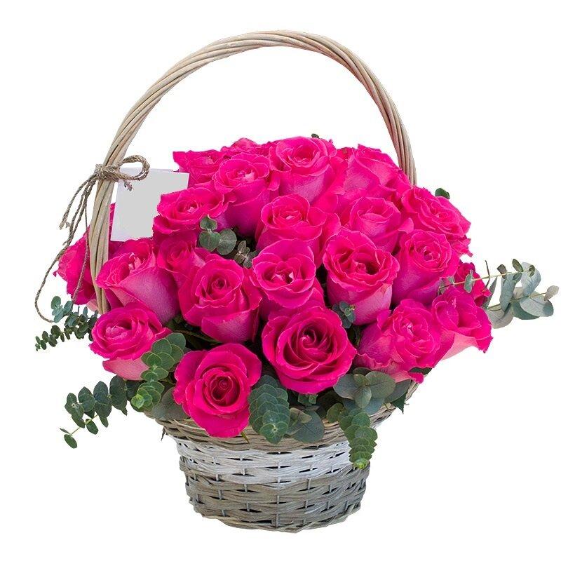Открытка с днем рождения розы в корзине