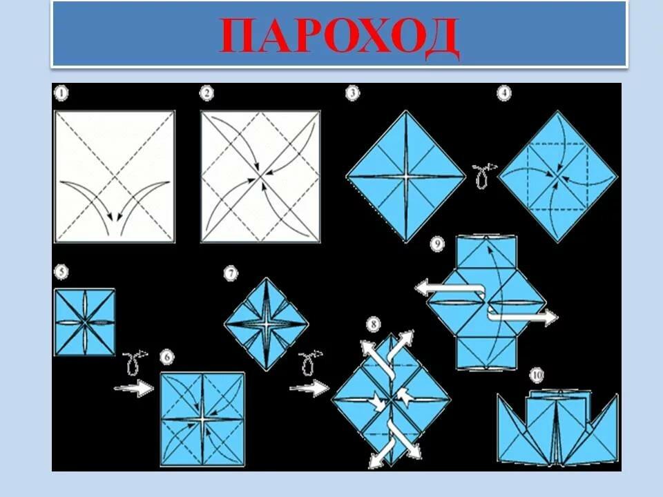 Открытка в технике оригами к 23 февраля со схемами