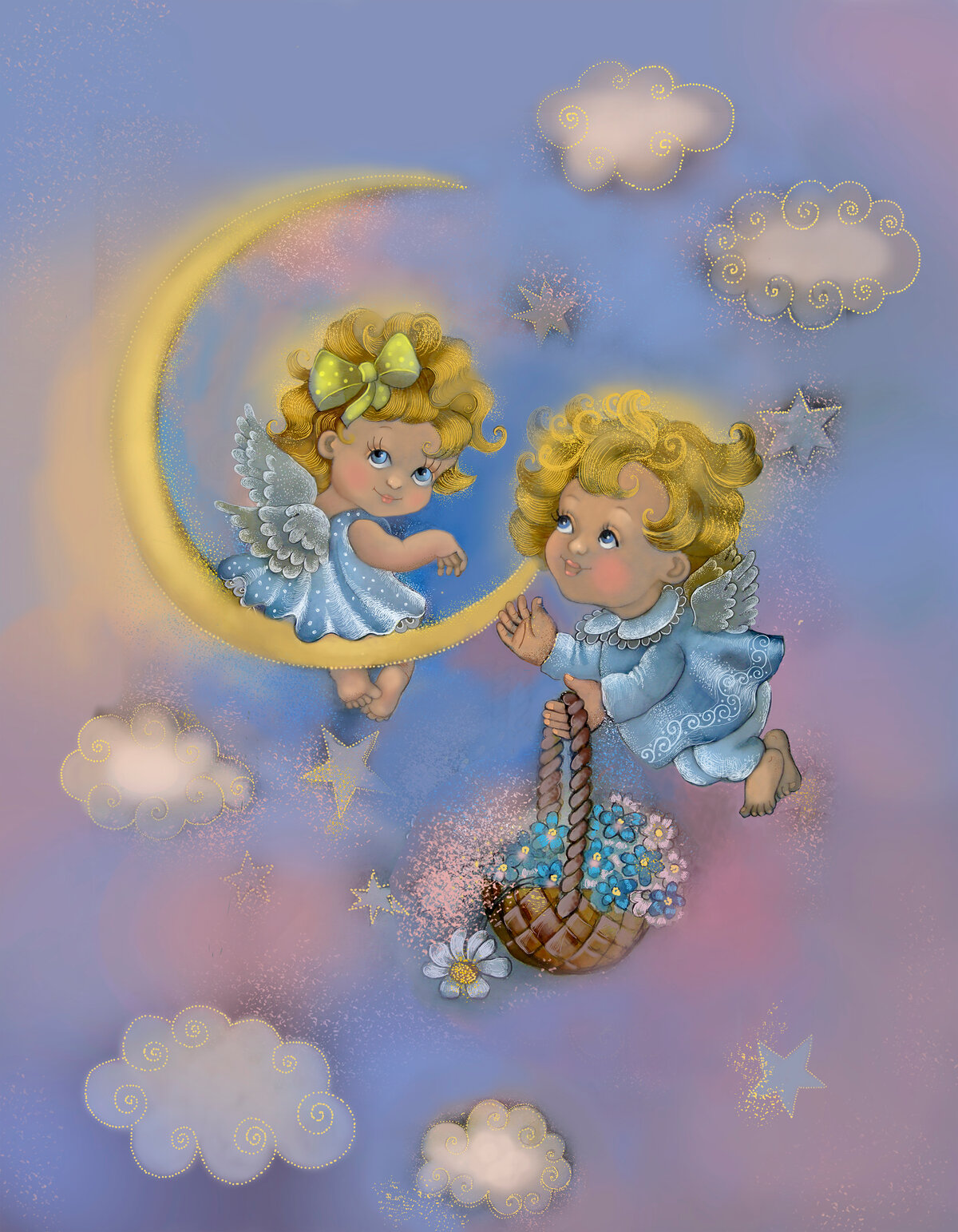 Ангелочек на облачке картинки