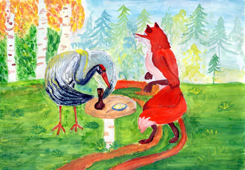 Нарисовать картинки к сказке лиса и журавль
