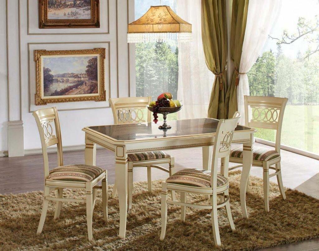 трензельное классические стулья для кухни фото серой