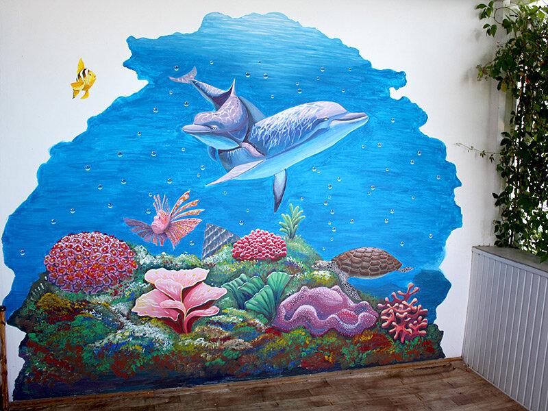 Картинки моря нарисованные на стене