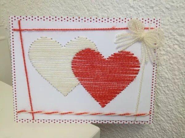 Вышивка, открытка изонить сердце