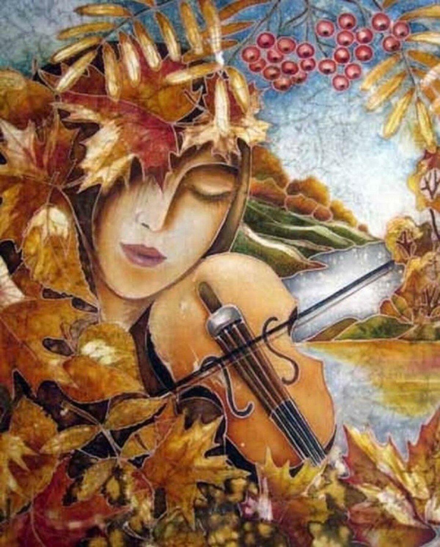 Картинки, открытки женщина-осень