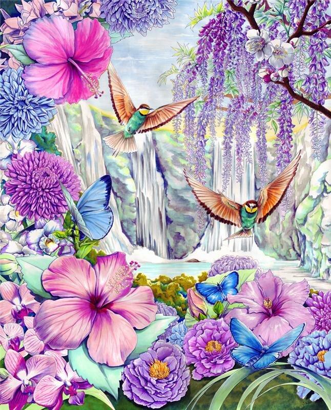 Красивые картинки с цветами бабочками птичками росой дождем, рождения фото ретро