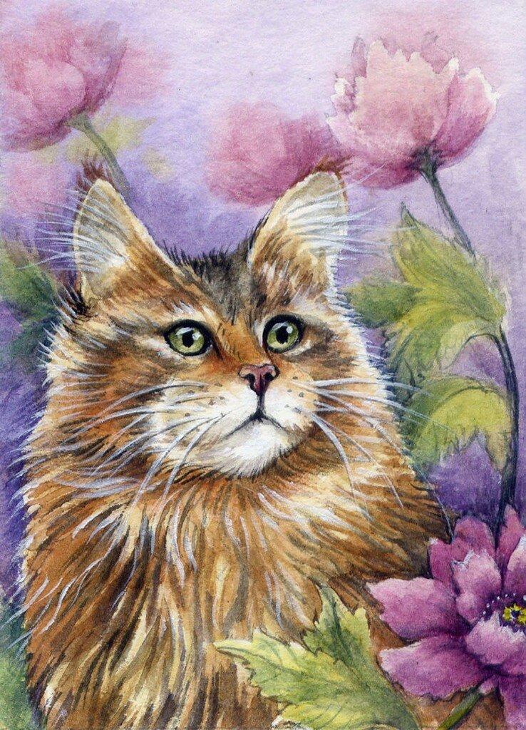 древесину кошки акварелью картинки американская художница информация возможность читать