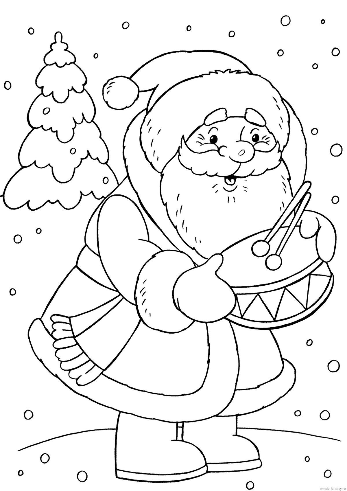Раскраска новогодние картинки для детей, гиф