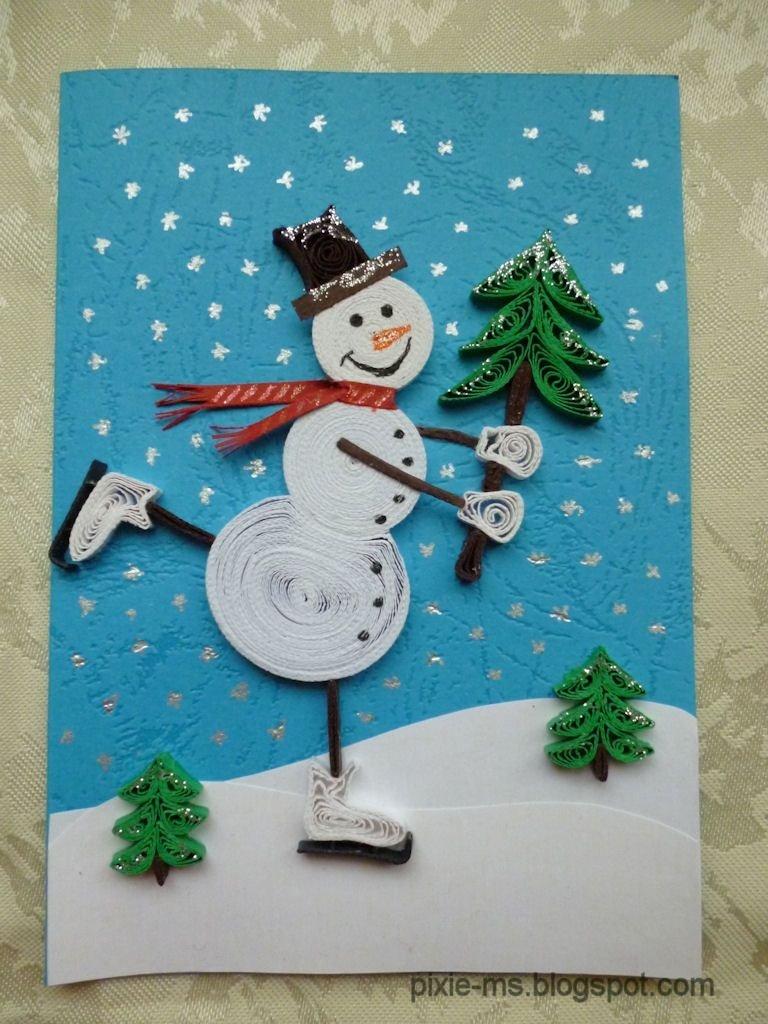Новогодняя открытка своими руками из бумаги и картона снеговик, картинки танках