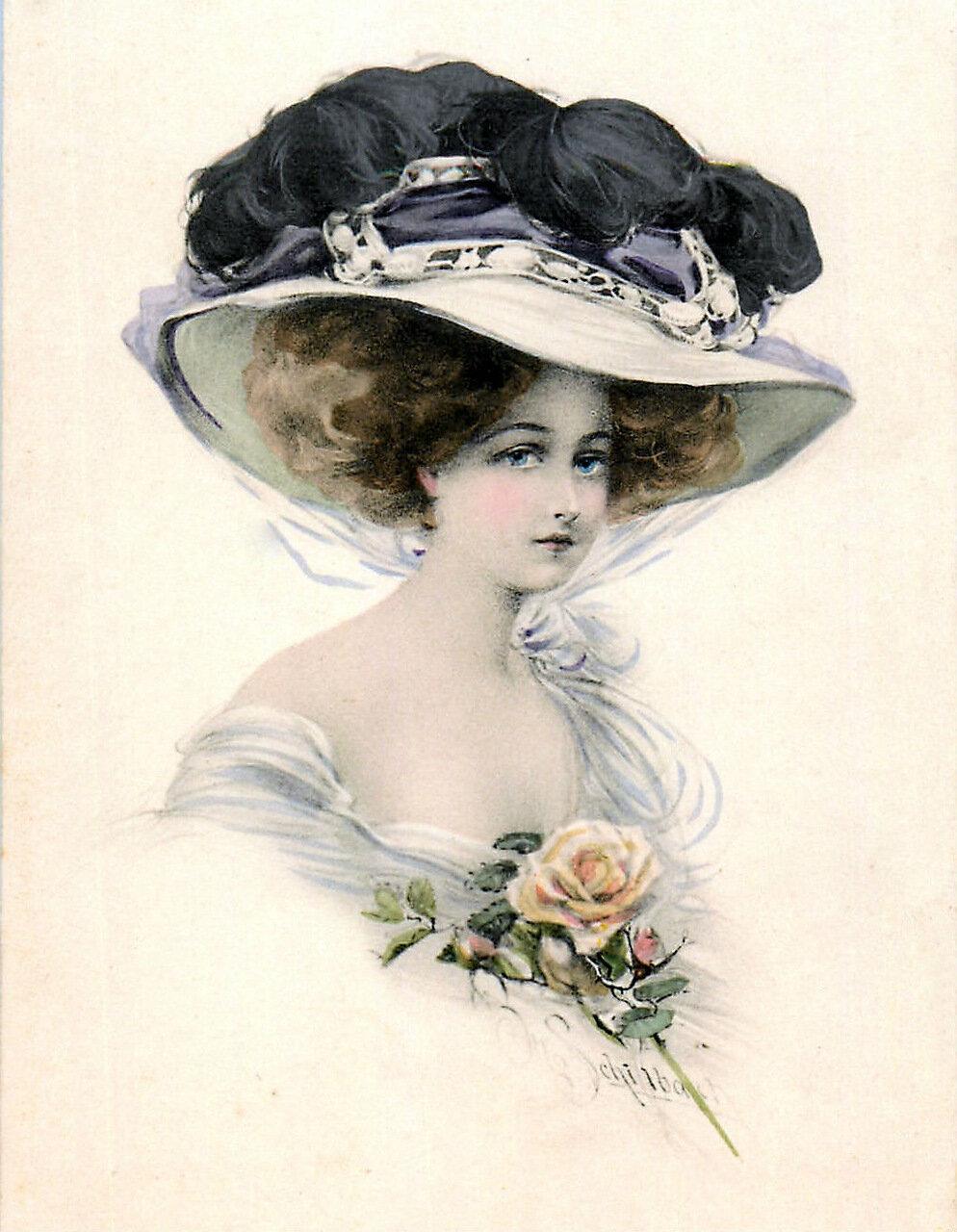Днем рождения, винтажные открытки женщине