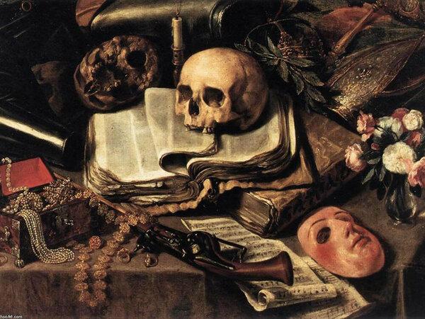 Картинки по запросу Францискус Гейсбрехтс, 2-я пол. XVII в.натюрморт с черепом