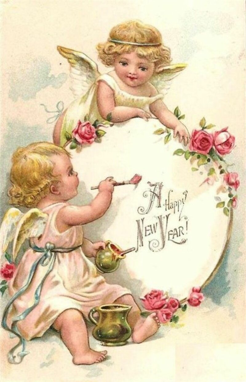 Мальвой, винтажные открытки с ангелом