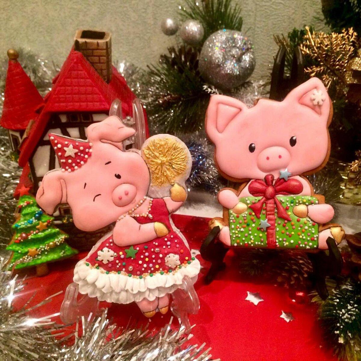 Фото новогодние открытки 2019 год свиньи