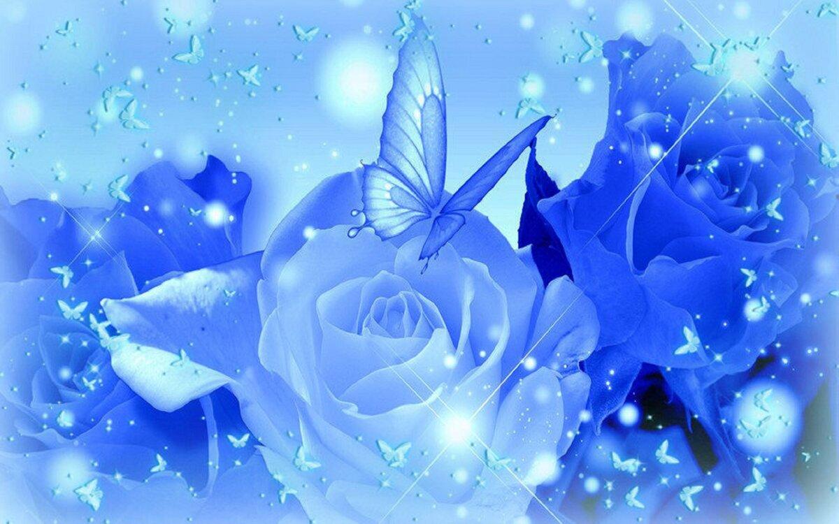 Открытка с голубым фоном, декабря зима