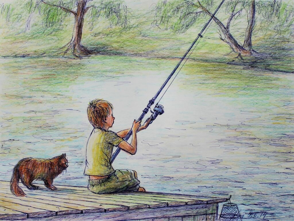 Картинка рисунок рыбак