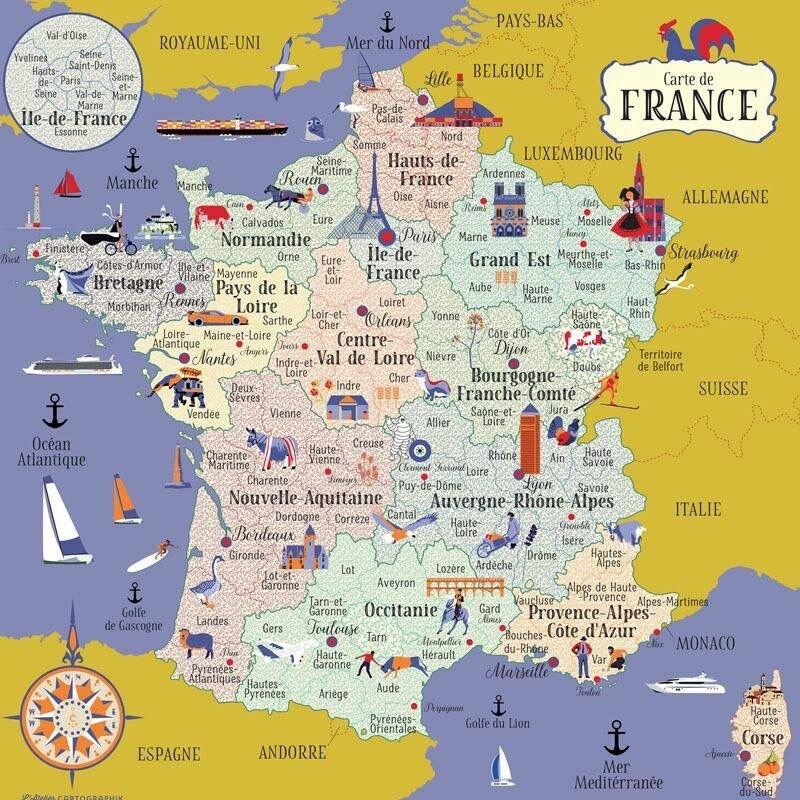 Карта франции с картинками заказать