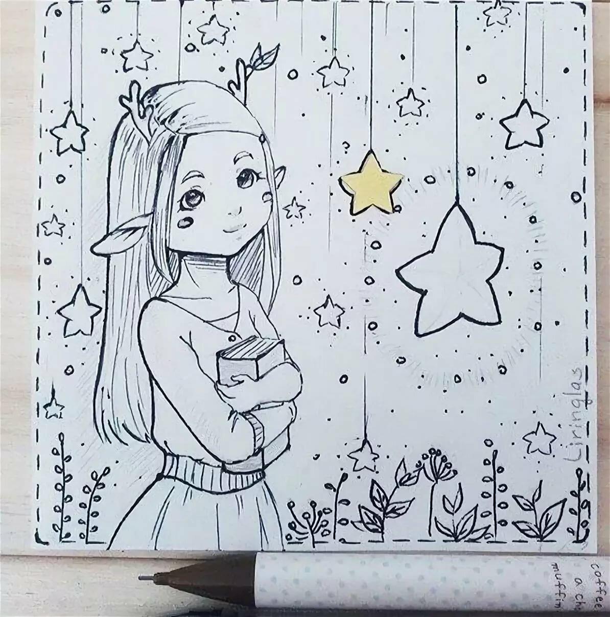 только колодец, картинки для срисовок в личный дневник своем инстаграме