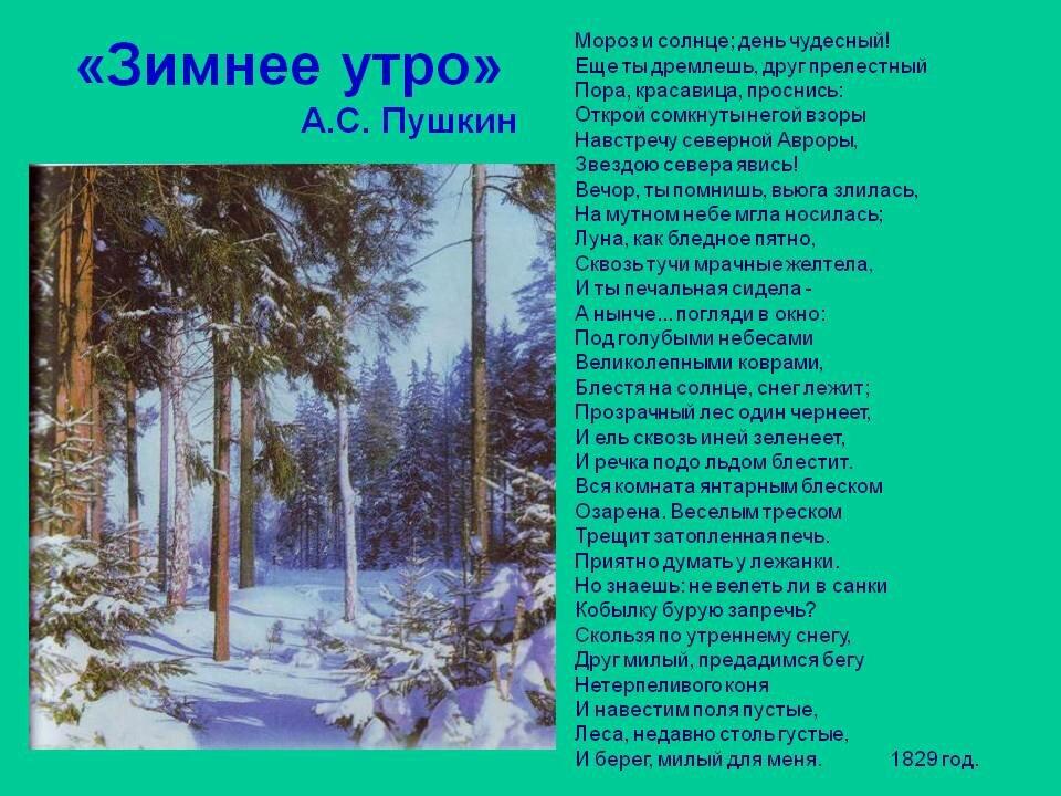 стих зимнее утро пушкин картинки