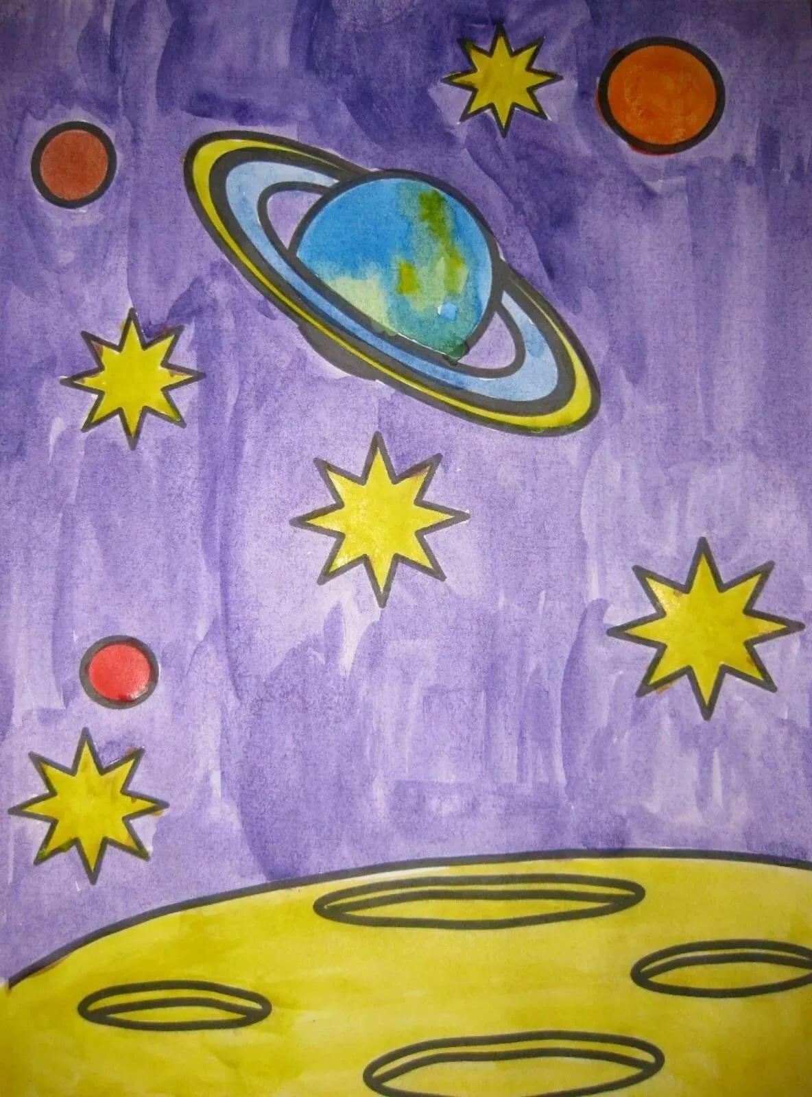 Картинки космос рисунки детей