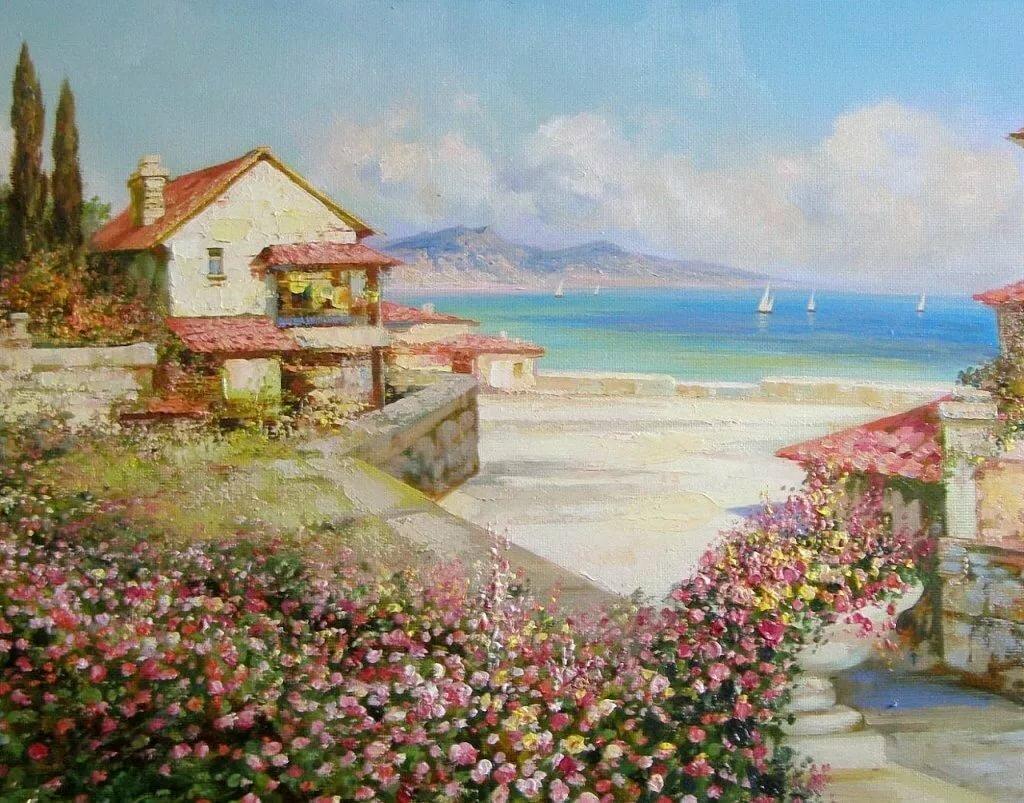 Картинка домик у моря с персиковым садом