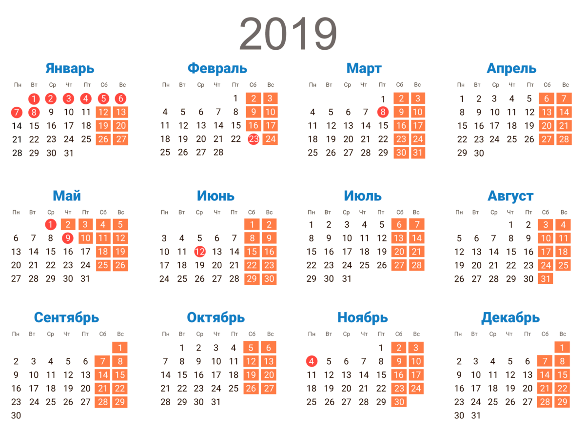 Картинка календарь 2019 года по месяцам