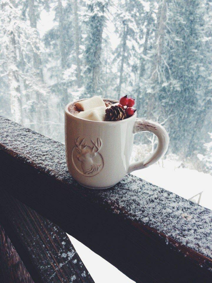 картинки чашка кофе на снегу наше