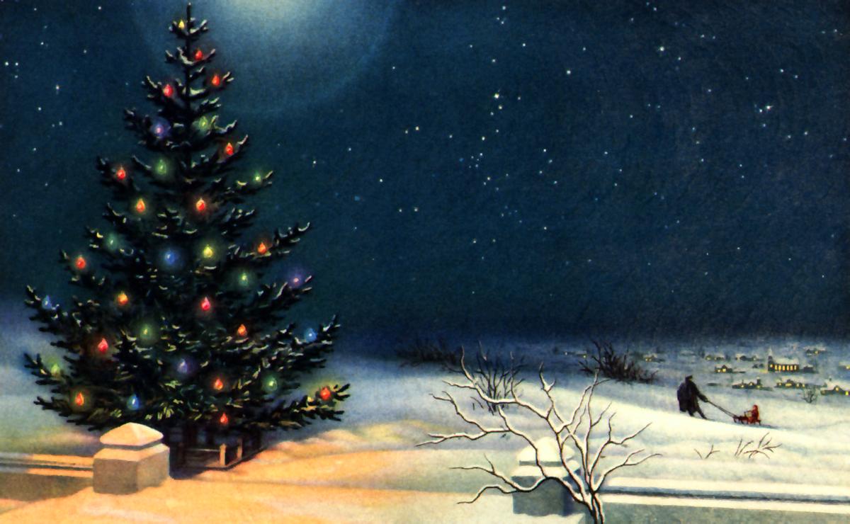 Открытка ретро елка, врачей открытка