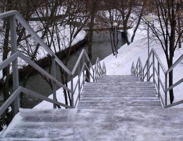 фон лестницы со снегом