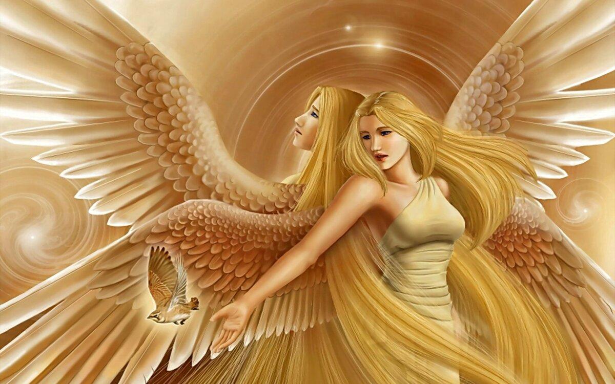 Новым, открытка девушки с крыльями