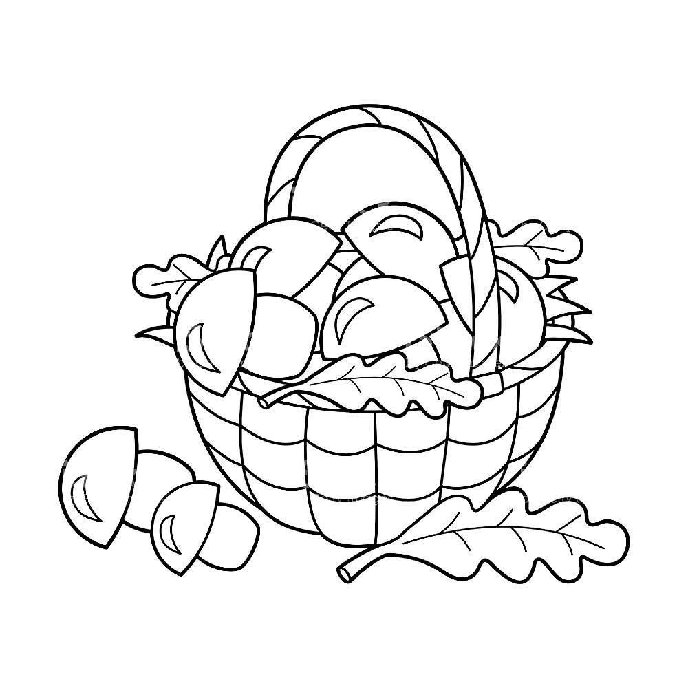 лукошко с грибами рисунок карандашом приготовления
