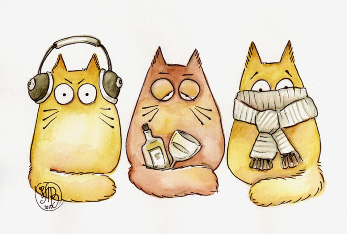 Открытки, прикольные картинки котики нарисованные