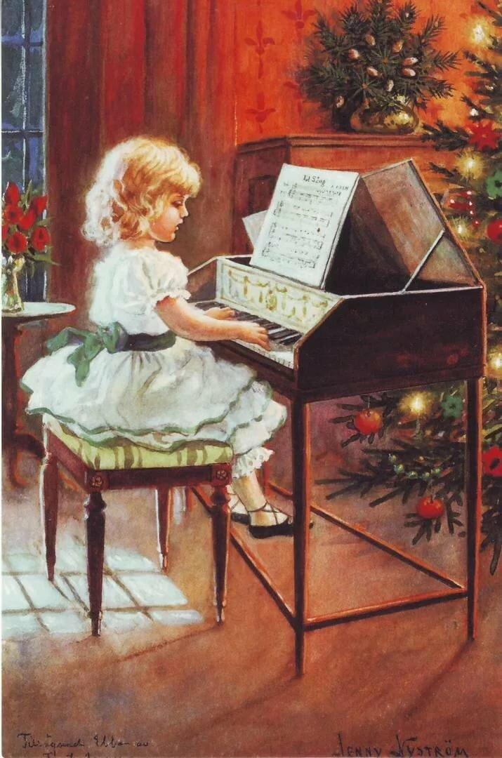 с новым годом рояль открытка