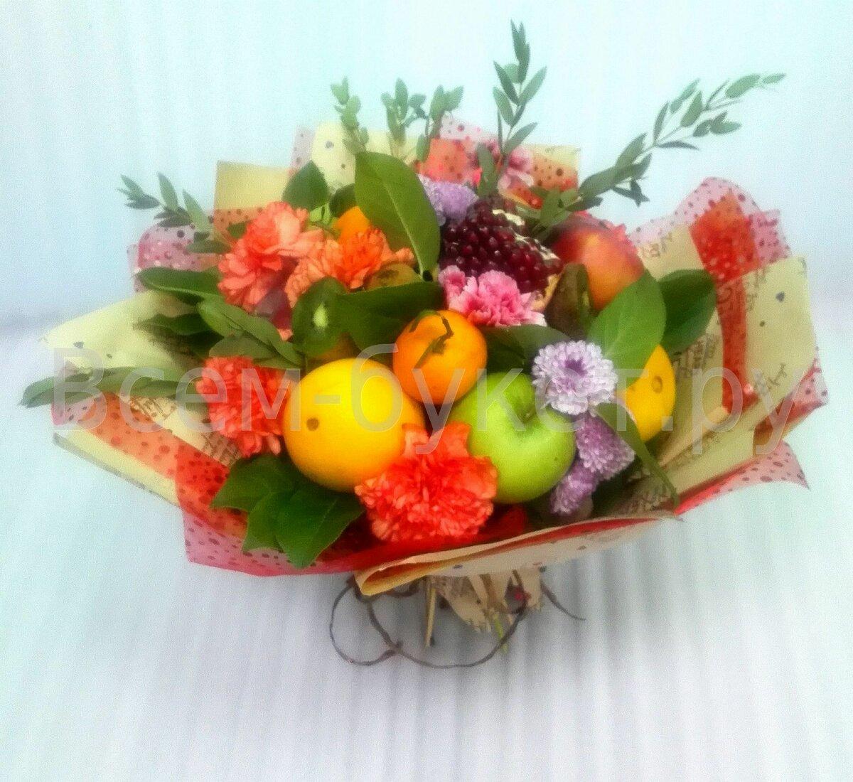 Букеты цветов с фруктами фото