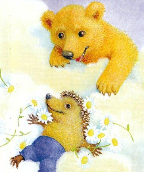Открытка медведь и ежик, смешные картинки
