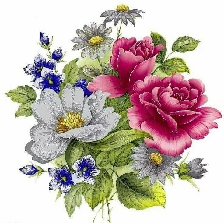 Любви, картинки с цветами на белом фоне для декупажа