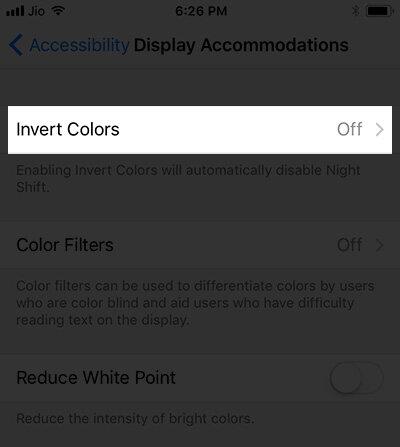 Click Invert Colors