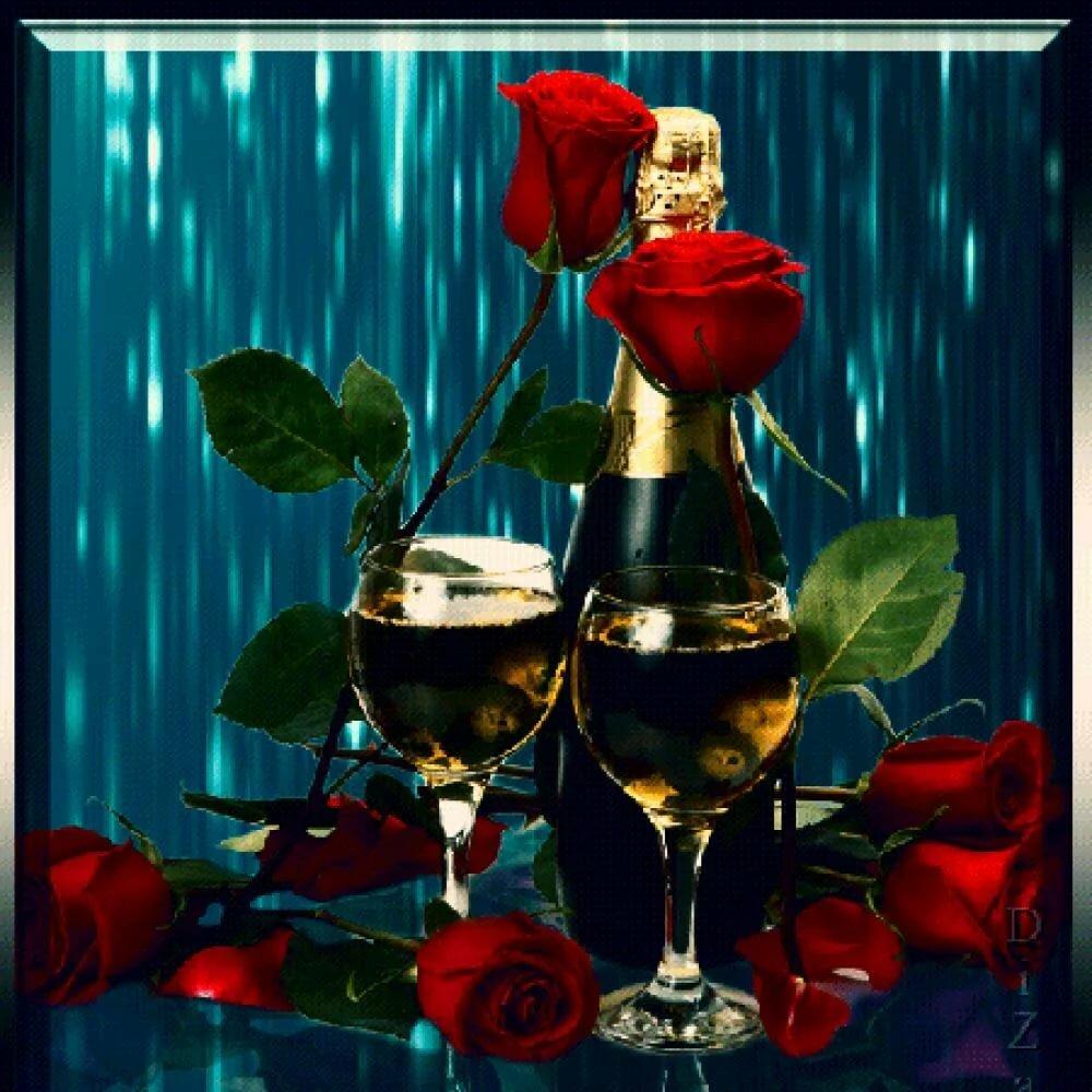 Картинки розы и шампанское для тебя