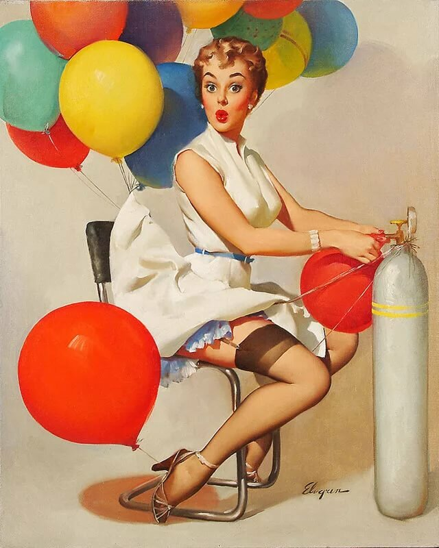Интерьером кухни, открытка воздушная девушка
