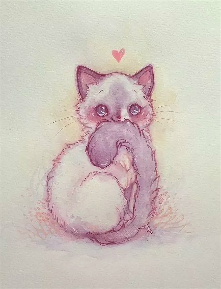 Картинки милые кошки нарисованные, угля