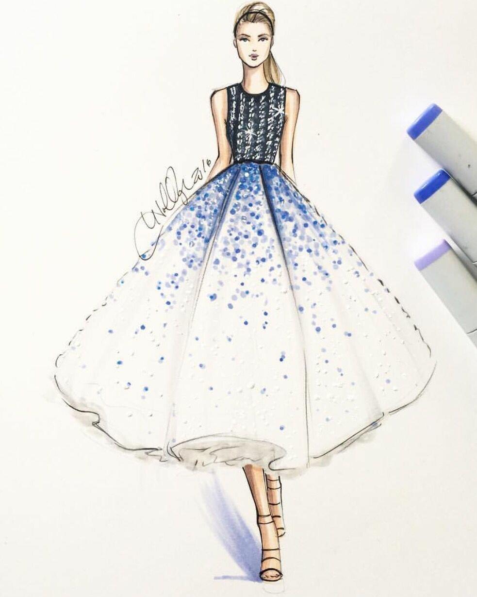 Рисунки карандашом платья для начинающих дизайнеров отлично вписывается