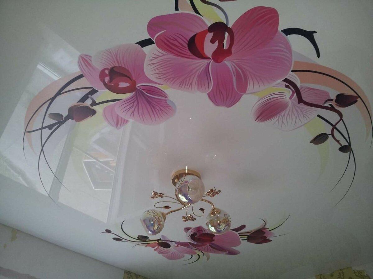 Натяжные потолки фотопечать цветы картинки