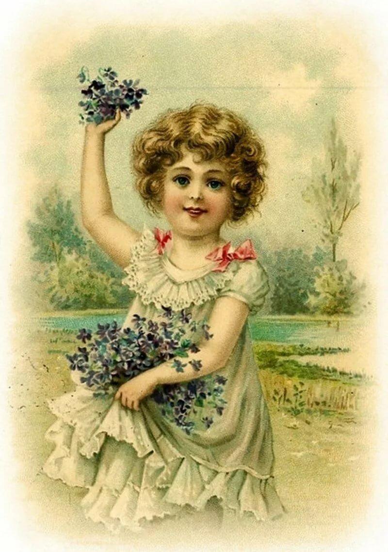 Картинки девочка с цветами в руках винтаж, текст