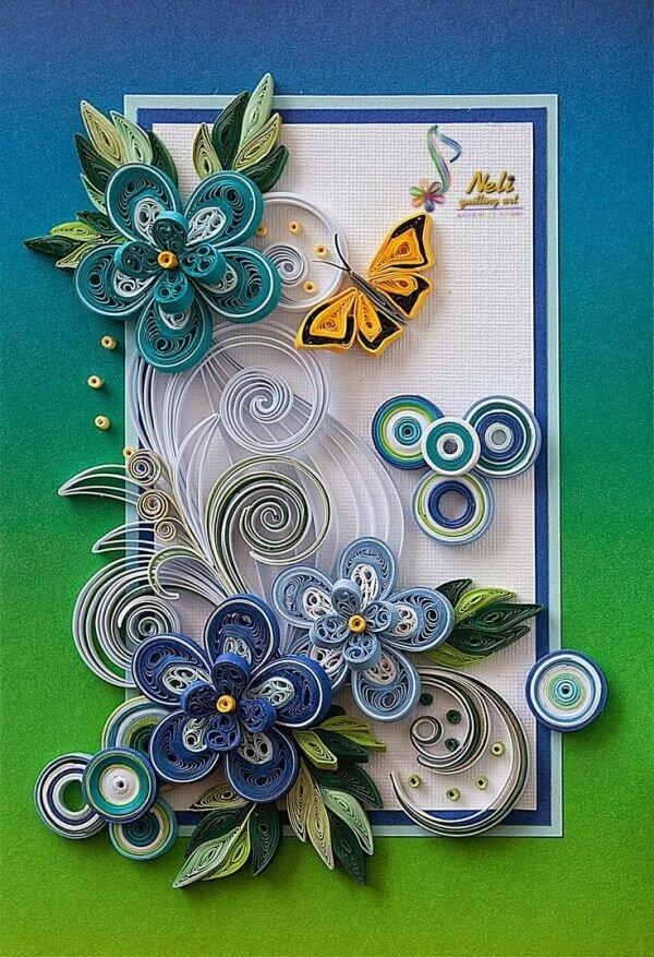 Днем, открытка своими руками цветы квиллинг