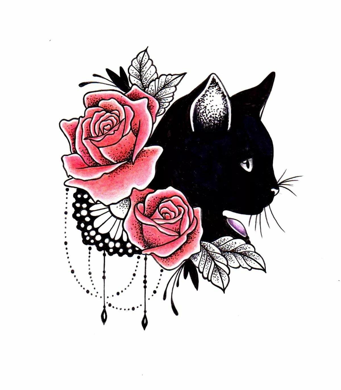 Картинки черные кошки в розах, дню матери для