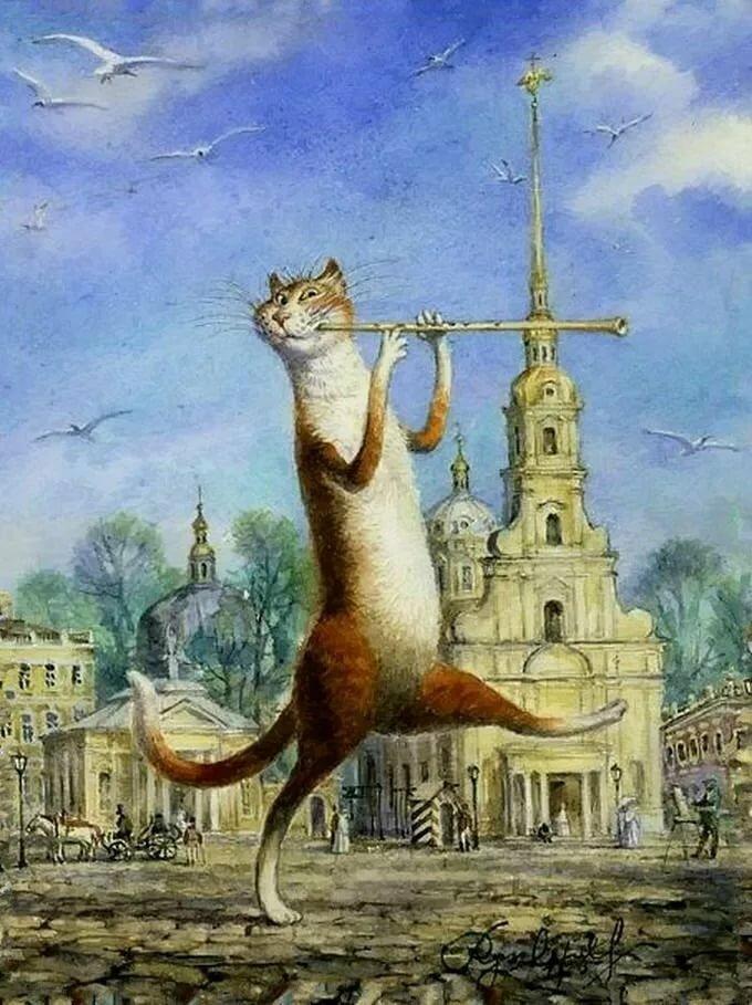 Рождество, картинки петербургские коты владимира румянцева