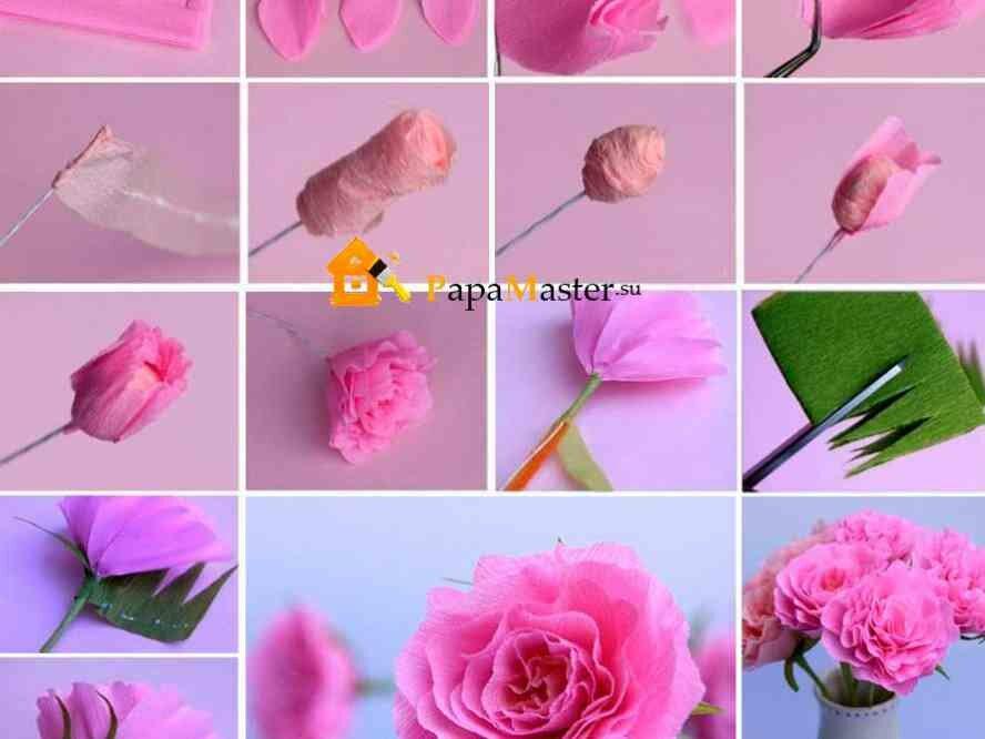 Цветы из гофрированной бумаги на открытку своими руками для начинающих