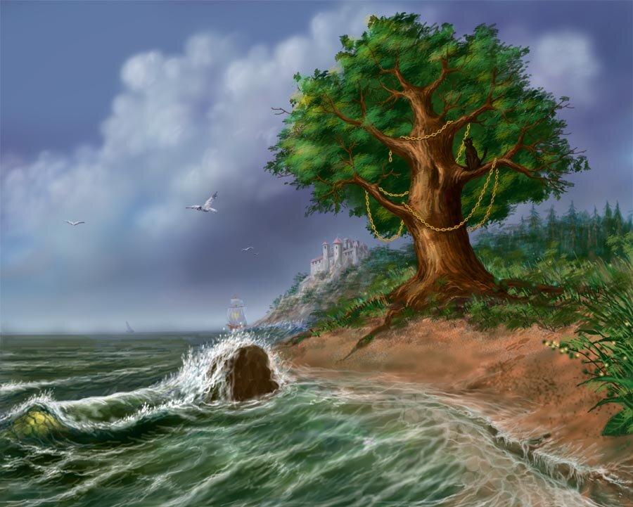 Картинки про, открытки у моря лукоморья