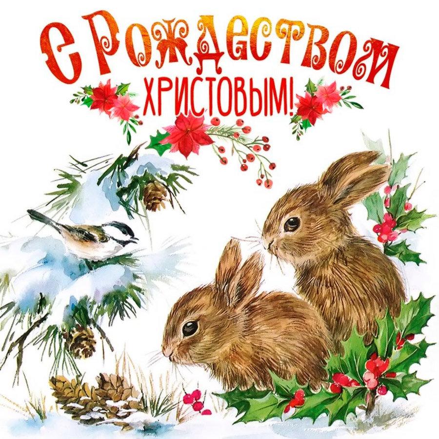 Поздравление с рождеством заяц